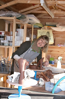 Linda Bristow at work in her studio